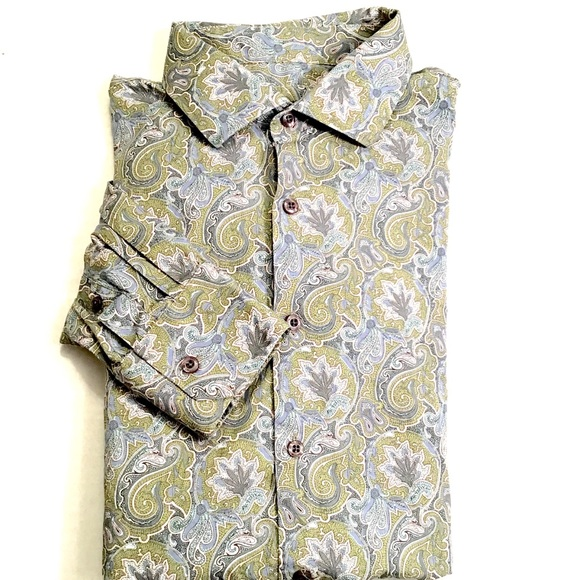 Size Large Mens Sage PAISLEY Button Down Long Sleeved Bohemian Oxford Shirt
